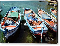 Fishing Boats In The Harbor Of Mondello, Sicily Acrylic Print