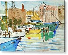 Fishing Boats In Hobart's Victoria Dock Acrylic Print