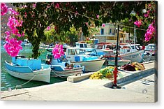 Fishing Boats Of Vathy Acrylic Print by Therese Alcorn
