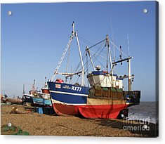 Fishing Boats On Hastings Stade Acrylic Print by Terri Waters