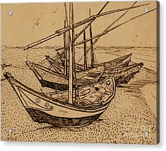 Fishing Boats On The Beach At Saintes-maries De La Mer, 1888 Acrylic Print by Vincent Van Gogh