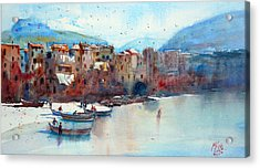 Fishing Boats On The Beach Of Cefalu Acrylic Print by Andre MEHU
