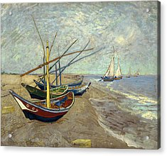 Acrylic Print featuring the painting Fishing Boats On The Beach by Van Gogh