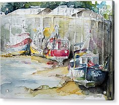 Fishing Boats Settled Aground During Ebb Tide Acrylic Print by Barbara Pommerenke