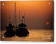 Fishing Boats Together At Sunset Acrylic Print by Sami Sarkis