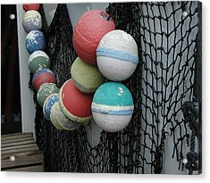 Acrylic Print featuring the photograph Fishing Buoys by Nancy Taylor