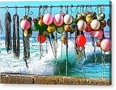 Fishing Buoys Acrylic Print by Terri Waters