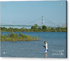 Acrylic Print featuring the photograph Fishing By The Macinac by Donald C Morgan
