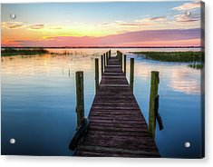 Acrylic Print featuring the photograph Fishing Dock At Sunrise by Debra and Dave Vanderlaan