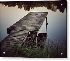 Fishing Dock Acrylic Print by Karen Stahlros