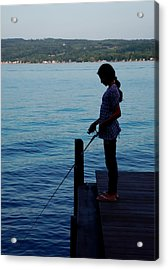 Fishing Girl Acrylic Print by Steven Ainsworth