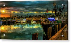 Fishing Harbor At Sunset Acrylic Print by Joseph Hollingsworth