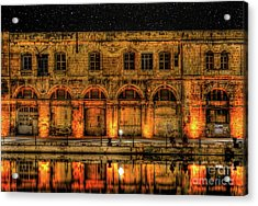 Fishing In Birgu By Old Buildings Acrylic Print by Stephan Grixti