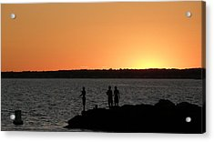 Fishing In The Sound Acrylic Print by Steven W Rand