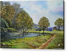 Fishing In The Wye Valley Acrylic Print by Andrew Read
