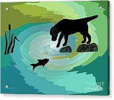 Fishing Labrador Dog Acrylic Print