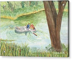 Acrylic Print featuring the painting Fishing Lake Tanko by Vicki  Housel