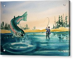 Fishing Montana Acrylic Print by Kevin Heaney