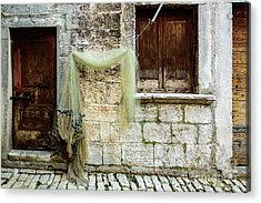 Fishing Net Hanging In The Streets Of Rovinj, Croatia Acrylic Print