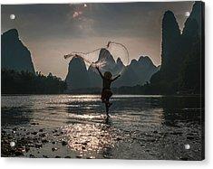 Fisherman Casting A Net. Acrylic Print