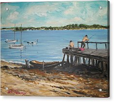 Fishing Off The Docks At Point Judith R.i. Acrylic Print