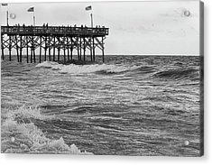 Acrylic Print featuring the photograph Fishing Off The Pier At Myrtle Beach by Chris Flees