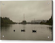 Fishing On Foggy Columbia River Acrylic Print