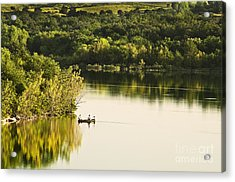 Acrylic Print featuring the photograph Fishing On Mountain Lake by Tamyra Ayles