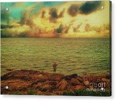 Acrylic Print featuring the photograph Fishing On The Rocks by Leigh Kemp