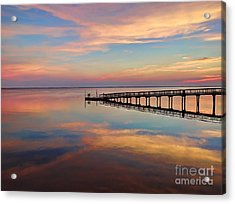 Fishing Pier Duck Obx Acrylic Print by Jeff Breiman