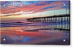 Fishing Pier Sunrise Acrylic Print by Suzanne Stout