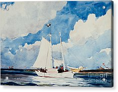 Fishing Schooner In Nassau Acrylic Print by Winslow Homer