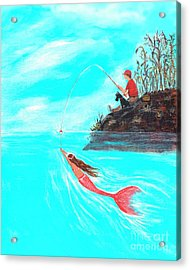 Acrylic Print featuring the painting Fishing Surprise by Leslie Allen