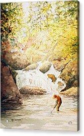 Fishing The Falls Acrylic Print