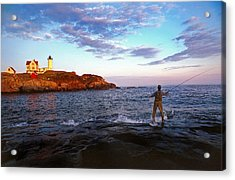 Fishing The Nubble Acrylic Print by Skip Willits