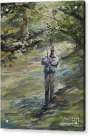 Acrylic Print featuring the painting Fishing The Sturgeon by Sandra Strohschein