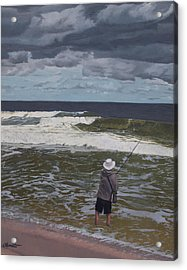 Fishing The Surf In Lavallette, New Jersey Acrylic Print