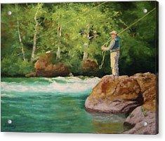 Fishing The Umpqua Acrylic Print by Nancy Jolley