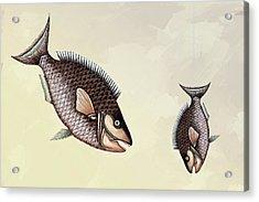 Fishing Trip Minimal Wall Art Sepia Acrylic Print by Georgiana Romanovna