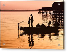 Fishing With Daddy Acrylic Print by Bonnie Barry