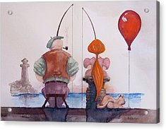 Fishing With Grandpa Acrylic Print by Geni Gorani