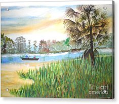 Fishing With My Son Acrylic Print by Hal Newhouser