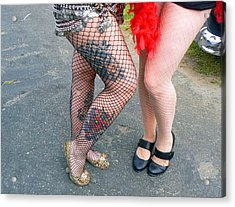 Acrylic Print featuring the photograph Fishnet And Tattoos by Pamela Patch