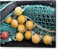 Fishnet Floats Acrylic Print by Carol Leigh