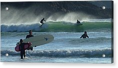 Fistral Beach Newquay Acrylic Print by Jane Stanley