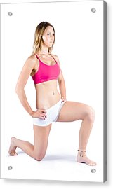 Fitness Woman Stretching Over White Acrylic Print by Jorgo Photography - Wall Art Gallery