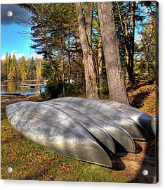 Acrylic Print featuring the photograph Five Canoes At Woodcraft Camp by David Patterson
