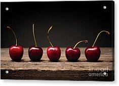 Five Cherries In A Row Acrylic Print by Andreas Berheide