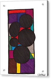 Five Dark Discs Acrylic Print by Teddy Campagna