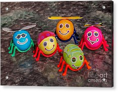 Five Easter Egg Bugs Acrylic Print by Sue Smith